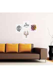 Kit 4 Quadros Com Moldura Home Sweet Home
