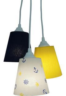 Lustre Crie Casa Pendente Náutico 3 Cúpulas Azul Marinho E Amarelo