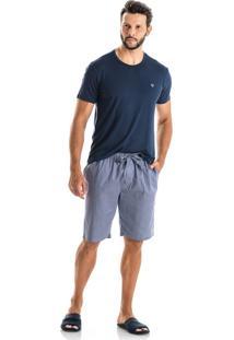 Pijama Danilo Slim C/ Shortao - P149 Azul/M