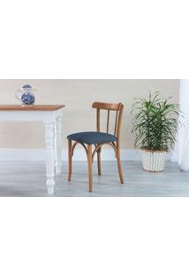 Cadeira Cozinha Estofada Justine - Stain Jatobá - Tec.997 Chumbo - 43X47,5X78,5 Cm