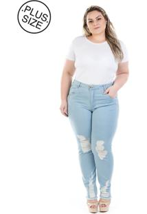d9a8fc9c7ea0e1 Dafiti Calça Plus Size - Confidencial Extra Jeans Cigarrete Cintura Alta  Destroyed