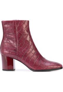 Dvf Diane Von Furstenberg Ankle Boot De Couro Gravada - Vermelho