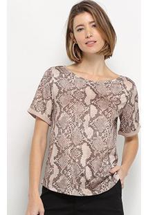 Camiseta Lança Perfume Animal Print Feminina - Feminino-Bege