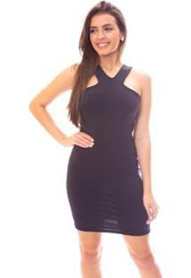 Vestido Moda Vicio Regata Com Detalhe Frente Feminino - Feminino-Preto