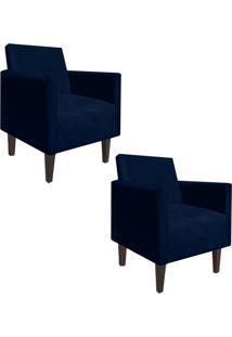 Kit 02 Poltrona Decorativa Compacta Jade Suede Azul Marinho Com Pés Baixo Chanfrado - D'Rossi