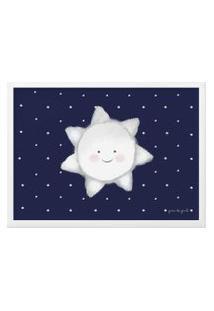 Quadro Mdf Estrela Sol Azul Marinho 46Cm Gráo De Gente Azul
