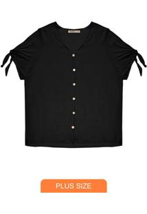 Camisa Plus Size Feminina De Botões Preto