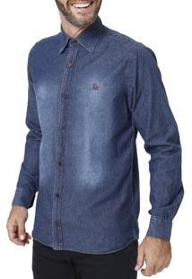 Camisa Jeans Manga Longa Masculina Azul - Masculino