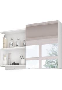 Armário De Banheiro Lis Com Espelho 1 Pt Branco 80 Cm