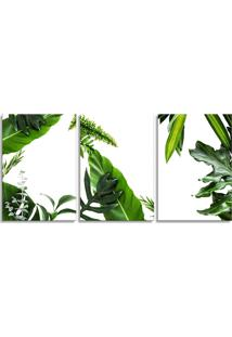 Quadro Oppen House 60X120Cm Folhagem Folhas Bananeira Canvas Decoração