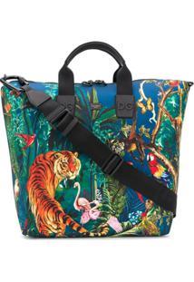 Dolce & Gabbana Bolsa Tote Com Estampa De Selva - Azul