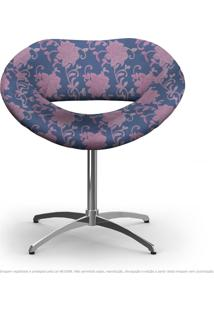 Cadeira Beijo Floral Rosa E Lilás Poltrona Decorativa Com Base Giratória