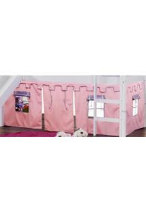 Cortina Tipo Tenda Castelo Rosa Para Cama Com Escorregador - Casatema