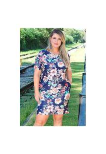 Vestido Curto Almaria Plus Size Fact Jeans Estampado Floral