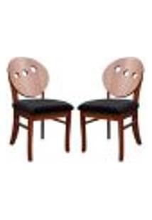Kit 2 Cadeiras Decorativas Sala De Jantar Teseu Madeira Maciça Poliéster Preto/Imbuia - Gran Belo