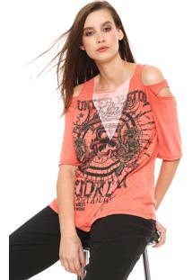 Camiseta My Favorite Thing(S) Off Shoulder Laranja