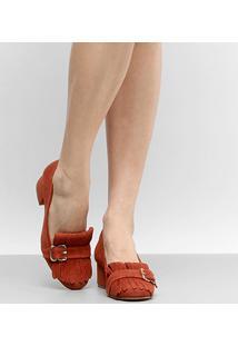 Scarpin Couro Shoestock Salto Médio Franja - Feminino-Laranja Escuro