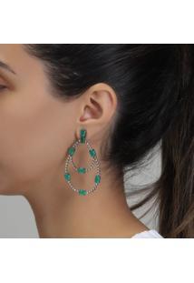 Brinco Rosa Pinhal Gota Articulada Com Cristal Verde Esmeralda E Zircônias