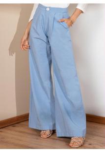 Calça Pantalona Azul Com Bolsos