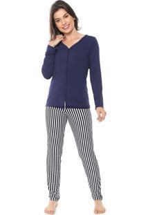 Pijama Bela Notte Listrado Azul-Marinho/Branco