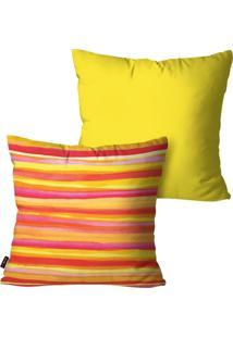 Kit Com 2 Capas Para Almofadas Pump Up Decorativas Amarelo Listras 45X45Cm