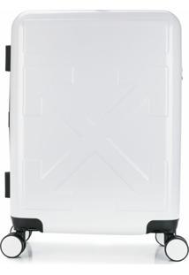 Off-White Mala Com Rodas Na Base E Logo Gravado - Branco