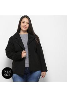 Casaco Queen'S Lã Batida Plus Size Feminino - Feminino-Preto