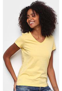 Blusa Malwee Baby Look Feminina - Feminino-Amarelo