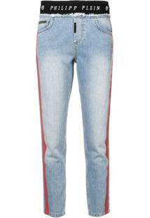 Philipp Plein Calça Jeans Cropped Com Logo - Azul