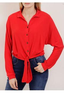 Camisa Manga Longa Feminina Autentique Vermelho