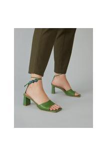 Amaro Feminino Sandália Salto Bloco Detalhe Pedras, Verde