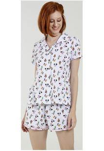 Pijama Feminino Estampado Manga Curta Disney