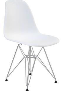 Cadeira Sem Braço Pp Base Cromada Eiffel -Rivatti - Branco