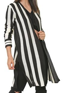 Maxi Cardigan Dress To Tricot Listrado Off-White/Preto - Kanui