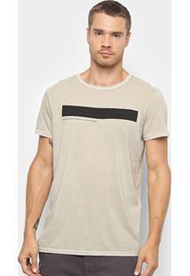 Camiseta T-Shirt Foxton Clássico Contemporâneo Masculina - Masculino-Areia