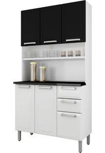 Cozinha Compacta Regina L 6 Pt 2 Gv Branca E Preta 105 Cm