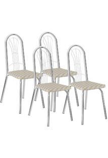 Cadeira 182 Cromada 04 Unidades Retrô Metalizado Carraro