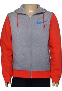 Casaco Masc Nike 727757-064 Club Fleece Swoosh Full Cinza/Vermelho