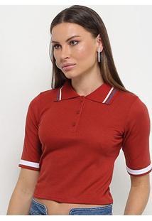 Camisa Polo Cropped Lecimar Feminina - Feminino-Vermelho