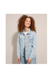 Jaqueta Jeans Alongada Pride Com Bolsos Azul Claro