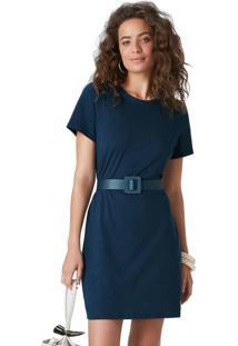 Vestido Azul Marinho Curto Em Malha