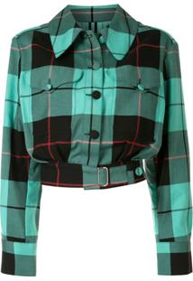 Charles Jeffrey Loverboy Tartan-Print Fitted Jacket - Verde