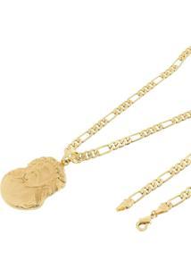 Pingente Face De Cristo Com Corrente 6Mm Tudo Jã³Ias Folheada A Ouro 18K Dourada - Dourado - Dafiti