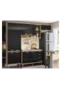 Cozinha Compacta Completa Multimóveis Com 4 Peças Sicília 5840 Argila/Preto