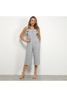 Macacão Lily Fashion Listrado Pantacourt Babado Botões Feminino - Feminino-Marinho