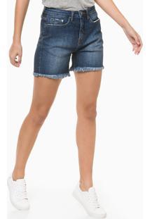 Bermuda Jeans Five Pockets Barras À Fio - Azul Marinho - 34