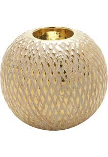 Porta Vela Texturizado- Bege & Dourado- 9Xã˜10Cm-Rojemac