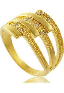 Anel Com Detalhe Fosco E Zircônias Cravejadas 3Rs Semijoias Dourado