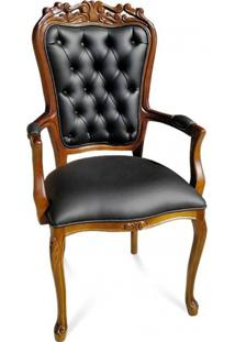 Cadeira Com Braço Luís Xv Capitonê Madeira Maciça Design De Luxo Peça Artesanal