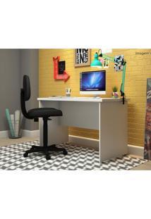 Conjunto Para Escritório Com Mesa Slim E Cadeira Executiva Super Pop Siena Móveis Branco/Preto